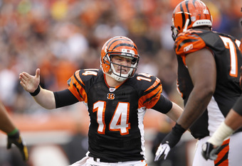 CINCINNATI, OH - NOVEMBER 13: Andy Dalton #14 of the Cincinnati Bengals celebrates after throwing a touchdown pass against the Pittsburgh Steelers at Paul Brown Stadium on November 13, 2011 in Cincinnati, Ohio. The Steelers won 24-17. (Photo by Joe Robbin