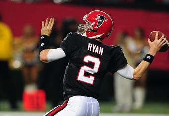 ATLANTA, GA - NOVEMBER 13: Matt Ryan #2 of the Atlanta Falcons passes against the New Orleans Saints at the Georgia Dome on November 13, 2011 in Atlanta, Georgia. (Photo by Scott Cunningham/Getty Images)