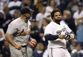MILWAUKEE, WI - OCTOBER 16:  Prince Fielder (R) #28 of the Milwaukee Brewers looks towardss Albert Pujols #5 of the St. Louis Cardinals after Fielder flied out for the third out in the bottom of the third inning during Game Six of the National League Cham