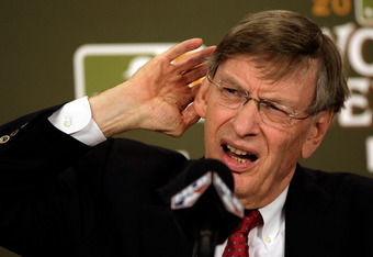 ST LOUIS, MO - OCTOBER 28:  MLB commissioner Bud Selig addresses the media prior to Game Seven of the MLB World Series between the Texas Rangers and the St. Louis Cardinals at Busch Stadium on October 28, 2011 in St Louis, Missouri.  (Photo by Jamie Squir