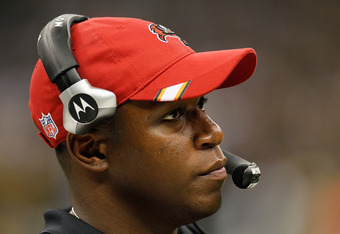 NEW ORLEANS, LA - NOVEMBER 06:  Head coach Raheem Morris of the Tampa Bay Buccaneers looks on during the game against the New Orleans Saints at Mercedes-Benz Superdome on November 6, 2011 in New Orleans, Louisiana.  (Photo by Kevin C. Cox/Getty Images)