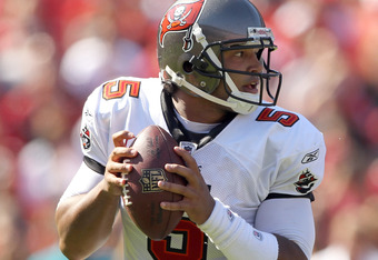 SAN FRANCISCO, CA - OCTOBER 09:  Josh Freeman #5 of the Tampa Bay Buccaneers in action against the San Francisco 49ers at Candlestick Park on October 9, 2011 in San Francisco, California.  (Photo by Ezra Shaw/Getty Images)