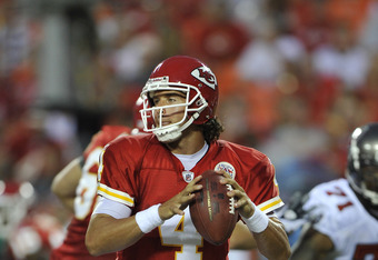 KANSAS CITY, MO - AUGUST 12:  Quarterback Tyler Palko #4 of the Kansas City Chiefs in action during a game against the Tampa Bay Buccaneers on August 12, 2011 at Arrowhead Stadium in Kansas City, Missouri.  (Photo by Peter Aiken/Getty Images)