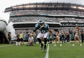 PHILADELPHIA, PA - SEPTEMBER 25:  DeSean Jackson #10 of the Philadelphia Eagles is introduced before the start of the Eagles game against the New York Giants at Lincoln Financial Field on September 25, 2011 in Philadelphia, Pennsylvania.  (Photo by Rob Ca