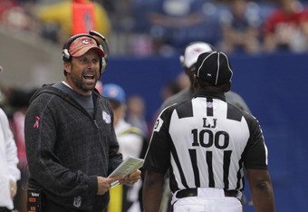 INDIANAPOLIS, IN - OCTOBER 9: Todd Haley, head coach of the Kansas City Chiefs reacts to a call by the officials during the first half of play against the Indianapolis Colts at Lucas Oil Field on October 9, 2011 in Indianapolis, Indiana. The Chiefs won 28
