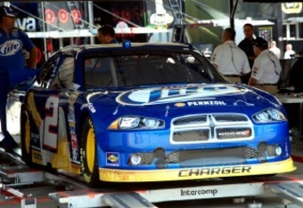 Brad Keselowski's No. 2 car in the garage inspection area
