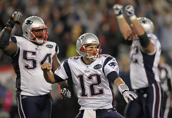 FOXBORO, MA - OCTOBER 16: Tom Brady #12 of the New England Patriots reacts after the game-winning touchdown in the fourth quarter against the Dallas Cowboys at Gillette Stadium on October 16, 2011 in Foxboro, Massachusetts. The Patriots won 20-16. (Photo