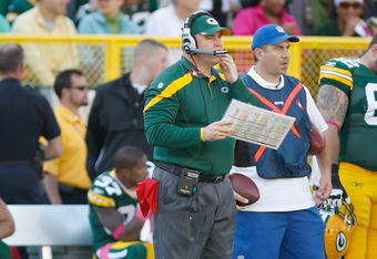GREEN BAY, WI - OCTOBER 2: Mike McCarthy of the Green Bay Packers looks on during the game against the Denver Broncos at Lambeau Field on October 2, 2011 in Green Bay, Wisconsin. (Photo by Scott Boehm/Getty Images)