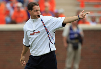 CLEMSON, SC - SEPTEMBER 17:  Head coach Gene Chizik yells to his team during their game against the Clemson Tigers at Memorial Stadium on September 17, 2011 in Clemson, South Carolina.  (Photo by Streeter Lecka/Getty Images)