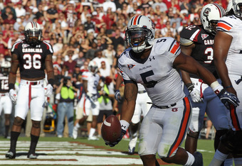COLUMBIA, SC - OCTOBER 01:  Michael Dyer #5 of the Auburn Tigers celebrates after a touchdown against the South Carolina Gamecocks during their game at Williams-Brice Stadium on October 1, 2011 in Columbia, South Carolina.  (Photo by Streeter Lecka/Getty