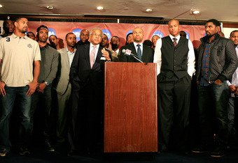 NEW YORK, NY - NOVEMBER 08:  Billy Hunter, Executive Director of the National Basketball Players Association, and Derek Fisher, President of the National Basketball Players Association speak at a press conference after the NBPA held a meeting to discuss t