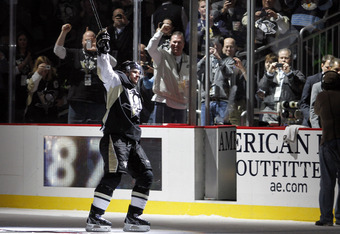 PITTSBURGH, PA - NOVEMBER 21:  Sidney Crosby #87 of the Pittsburgh Penguins waves after being selected as number one star of the game at Consol Energy Center on November 21, 2011 in Pittsburgh, Pennsylvania.  The Penguins defeated the Islanders 5-0.  (Pho