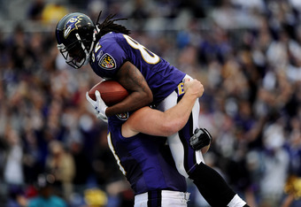 BALTIMORE, MD - NOVEMBER 20: Wide receiver Torrey Smith #82 of the Baltimore Ravens celebrates with teammates after scoring the third quarter against the Cincinnati Bengals at M&T Bank Stadium on November 20, 2011 in Baltimore, Maryland. The Ravens won, 3