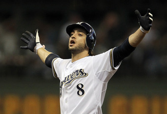 MILWAUKEE, WI - OCTOBER 07:  Ryan Braun #8 of the Milwaukee Brewers reacts after hitting a double in the sixth inning off pitcher Ian Kennedy #31 of the Arizona Diamondbacks in Game Five of the National League Division Series at Miller Park on October 7,
