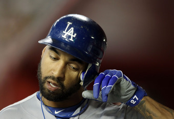 PHOENIX, AZ - SEPTEMBER 27:  Matt Kemp #27 of the Los Angeles Dodgers during the Major League Baseball game against the Arizona Diamondbacks at Chase Field on September 27, 2011 in Phoenix, Arizona.  The Diamondbacks defeated the Dodgers 7-6 in 10 innings