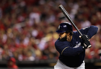 ST LOUIS, MO - OCTOBER 14: Prince Fielder #28 of the Milwaukee Brewers bats against the St. Louis Cardinals during Game Five of the National League Championship Series at Busch Stadium on October 14, 2011 in St Louis, Missouri.  (Photo by Jamie Squire/Get