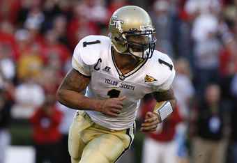 Reggie Ball of Georgia Tech during the game between the Georgia Bulldogs and the Georgia Tech Yellow Jackets at Sanford Stadium in Athens, GA on November 25, 2006. (Photo by Mike Zarrilli/Getty Images)