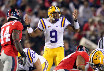 OXFORD, MS - NOVEMBER 19: Jordan Jefferson #9 of the LSU Tigers calls an audible against the Ole Miss Rebels on November 19, 2011 at Vaught-Hemingway Stadium in Oxford, Mississippi.  (Photo by Joe Murphy/Getty Images)