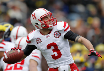ANN ARBOR, MI - NOVEMBER 19:  Taylor Martinez #3 of the Nebraska Cornhuskers throws a first quarter pass while playing the Michigan Wolverines at Michigan Stadium on November 19, 2011 in Ann Arbor, Michigan. (Photo by Gregory Shamus/Getty Images)