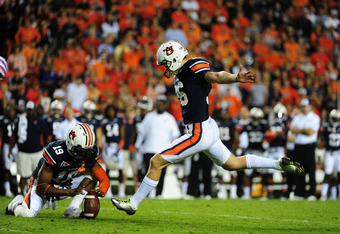 AUBURN, AL - OCTOBER 15: Cody Parkey #36 of the Auburn Tigers kicks a field goal against the Florida Gators at Jordan-Hare Stadium on October 15, 2011 in Auburn, Alabama. Photo by Scott Cunningham/Getty Images)