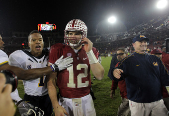 STANFORD, CA - NOVEMBER 19:  Andrew Luck #12 of the Stanford Cardinal shakes hands with Marvin Jones #1 of the California Golden Bears after their game at Stanford Stadium on November 19, 2011 in Stanford, California.  (Photo by Ezra Shaw/Getty Images)