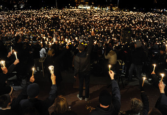 STATE COLLEGE, PA - NOVEMBER 11: Penn State students hold candlelight vigil for abused victims in the Penn State scandal on Old Main Lawn November 11, 2011 in State College, Pennsylvania. Former Penn State football defensive coordinator Jerry Sandusky is