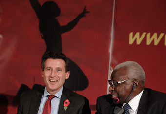 MONACO - NOVEMBER 11:  Lord Sebastian Coe and IAAF president Lamine Diack attend a press conference after winning the venue for 2017 IAAF World Athletics Championships in London on November 11, 2011 in Monaco, Monaco.  (Photo by Frederic Nebinger/Getty Im