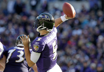 BALTIMORE, MD - OCTOBER 30:  Joe Flacco #5 of the Baltimore Ravens throws a pass against the Arizona Cardinals at M&T Bank Stadium on October 30, 2011 in Baltimore, Maryland.  (Photo by Rob Carr/Getty Images)
