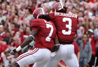 TUSCALOOSA, AL - NOVEMBER 19:  Running back Trent Richardson #3 of the Alabama Crimson Tide celebrates with wide receiver and teammate Kenny Bell #7 after Richardson's first half touchdown during the game against the Georgia Southern Eagles at Bryant-Denn