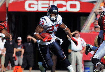 TAMPA, FL - NOVEMBER 13: Running back Arian Foster #23 of the Houston Texans rushes upfield against the Tampa Bay Buccaneers November 13, 2011 at Raymond James Stadium in Tampa, Florida. (Photo by Al Messerschmidt/Getty Images)