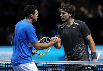 LONDON, ENGLAND - NOVEMBER 24:  Jo-Wilfried Tsonga of France greets Rafael Nadal of Spain after the men's singles match during the Barclays ATP World Tour Finals at the O2 Arena on November 24, 2011 in London, England.  (Photo by Michael Regan/Getty Image