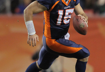 DENVER, CO - NOVEMBER 17:  Quarterback Tim Tebow #15 of the Denver Broncos scrambles against the New York Jets at Sports Authority Field at Mile High on November 17, 2011 in Denver, Colorado. The Broncos defeated the Jets 17-13.  (Photo by Doug Pensinger/