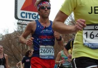 Hanaran running in  the shadows of the famous Citgo sign as he enjoyed his maiden marathon event last April.