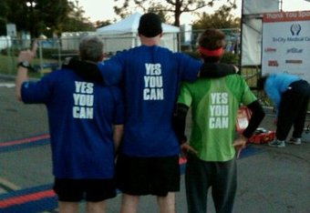 Hanrahan (right with headband) is joined by other Yes You Can fans at last years Carlsbad Half