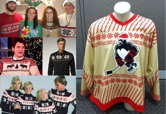The WBS Penguins 2011 XMAS jerseys (right) are modeled after ugly holiday sweaters. (Photo: Official WBS Penguins Facebook)