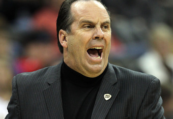 KANSAS CITY, MO - NOVEMBER 21:  Head coach Mike Brey of the Notre Dame Fighting Irish reacts from the bench during the Progressive CBE Classic game against the Missouri Tigers on November 21, 2011 at the Sprint Center in Kansas City, Missouri.  (Photo by
