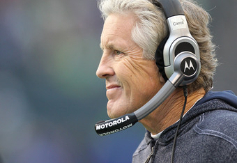 SEATTLE - NOVEMBER 13:  Head coach Pete Carroll of the Seattle Seahawks looks on during the game against the Baltimore Ravens at CenturyLink Field on November 13, 2011 in Seattle, Washington. The Seahawks defeated the Ravens 22-17. (Photo by Otto Greule J