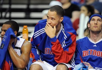 AUBURN HILLS, MI - APRIL 26:  (L-R) Arron Afflalo #28, Tayshaun Prince #22 and Walter Herrmann #5 of the Detroit Pistons sit on the bench in Game Four of the Eastern Conference Quarterfinals against the Cleveland Cavaliers during the 2009 NBA Playoffs at