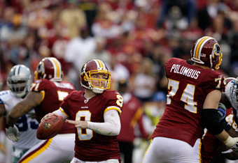 LANDOVER, MD - NOVEMBER 20:  Rex Grossman #8 of the Washington Redskins throws a pass against the Dallas Cowboys during the second half at FedExField on November 20, 2011 in Landover, Maryland.  (Photo by Rob Carr/Getty Images)