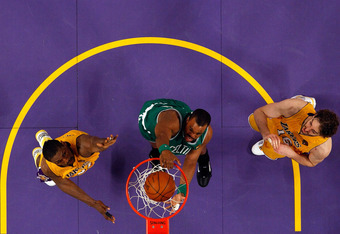 LOS ANGELES, CA - JUNE 15:  Shelden Williams #13 of the Boston Celtics dunks the ball against the Los Angeles Lakers in Game Six of the 2010 NBA Finals at Staples Center on June 15, 2010 in Los Angeles, California.  NOTE TO USER: User expressly acknowledg