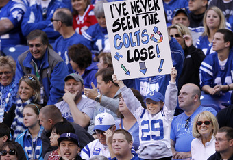 INDIANAPOLIS, IN - NOVEMBER 6: Indianapolis Colts fan looks on during the game against the Atlanta Falcons at Lucas Oil Stadium on November 6, 2011 in Indianapolis, Indiana. The Falcons defeated the Colts 31-7. (Photo by Joe Robbins/Getty Images)