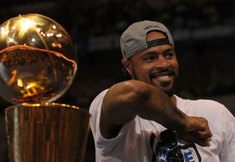 DALLAS, TX - JUNE 16:  Tyson Chandler of the Dallas Mavericks celebrates after the Dallas Mavericks Victory Parade at American Airlines Center on June 16, 2011 in Dallas, Texas.  (Photo by Ronald Martinez/Getty Images)