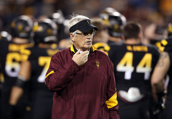 TEMPE, AZ - NOVEMBER 19:  Head coach Dennis Erickson of the Arizona State Sun Devils watches warm ups before the college football game against the Arizona Wildcats at Sun Devil Stadium on November 19, 2011 in Tempe, Arizona.  (Photo by Christian Petersen/