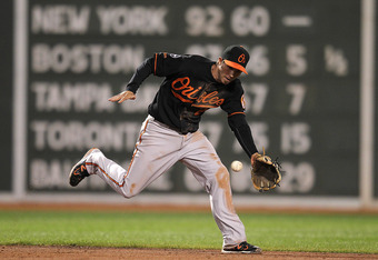 BOSTON, MA - SEPTEMBER 19:  J.J. Hardy #2 of the Baltimore Orioles tracks down a ground ball but makes an errant throw to first, which allows Darnell McDonald #54 of the Boston Red Sox, to reach first, in the second game of a doubleheader at Fenway Park S