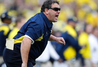 ANN ARBOR, MI - NOVEMBER 26:  Head coach Brady Hoke of the Michigan Wolverines yells from the sideline while playing the Ohio State Buckeyes at Michigan Stadium on November 26, 2011 in Ann Arbor, Michigan. Michigan won the game 40-34. (Photo by Gregory Sh