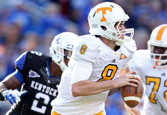 LEXINGTON, KY - NOVEMBER 26:  Tyler Bray #8 of the Tennessee Volunteers runs with the ball during the game against the Kentucky Wildcats  at Commonwealth Stadium on November 26, 2011 in Lexington, Kentucky.  (Photo by Andy Lyons/Getty Images)