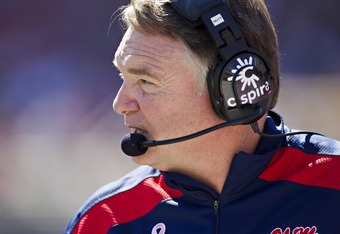 OXFORD,  MS - OCTOBER 22:  Head Coach Houston Nutt of the Ole Miss Rebels on the sidelines during a game against the Arkansas Razorbacks at Vaught-Hemingway Stadium on October 22, 2011 in Oxford, Mississippi.  The Razorbacks defeated the Rebels 29 to 24.
