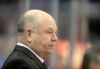 WASHINGTON, DC - NOVEMBER 21:  Head coach Bruce Boudreau of the Washington Capitals watches the game against the Phoenix Coyotes at the Verizon Center on November 21, 2011 in Washington, DC. Washington won the game 4-3. This was Boudreau's 200th career vi