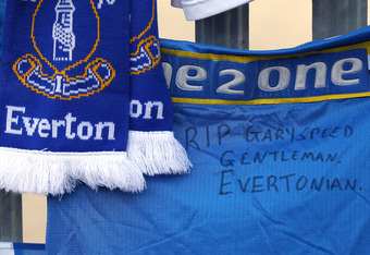 BOLTON, ENGLAND - NOVEMBER 28:  Tributes to footballer and ex Everton player Gary Speed are seen outside Goodison Park the home ground of Everton FC on November 28, 2011 in Bolton, United Kingdom.  (Photo by Alex Livesey/Getty Images)