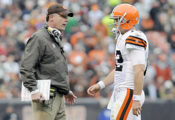 CLEVELAND, OH - NOVEMBER 20: Head coach Pat Shurmur talks with quarterback Colt McCoy #12 of the Cleveland Browns during the second quarter at Cleveland Browns Stadium on November 20, 2011 in Cleveland, Ohio. (Photo by Jason Miller/Getty Images)